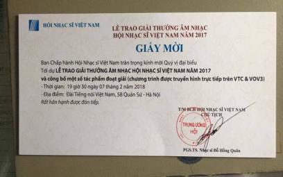 Hội Nhạc sĩ Việt Nam: Thông báo lễ trao Giải thưởng Âm nhạc 2017